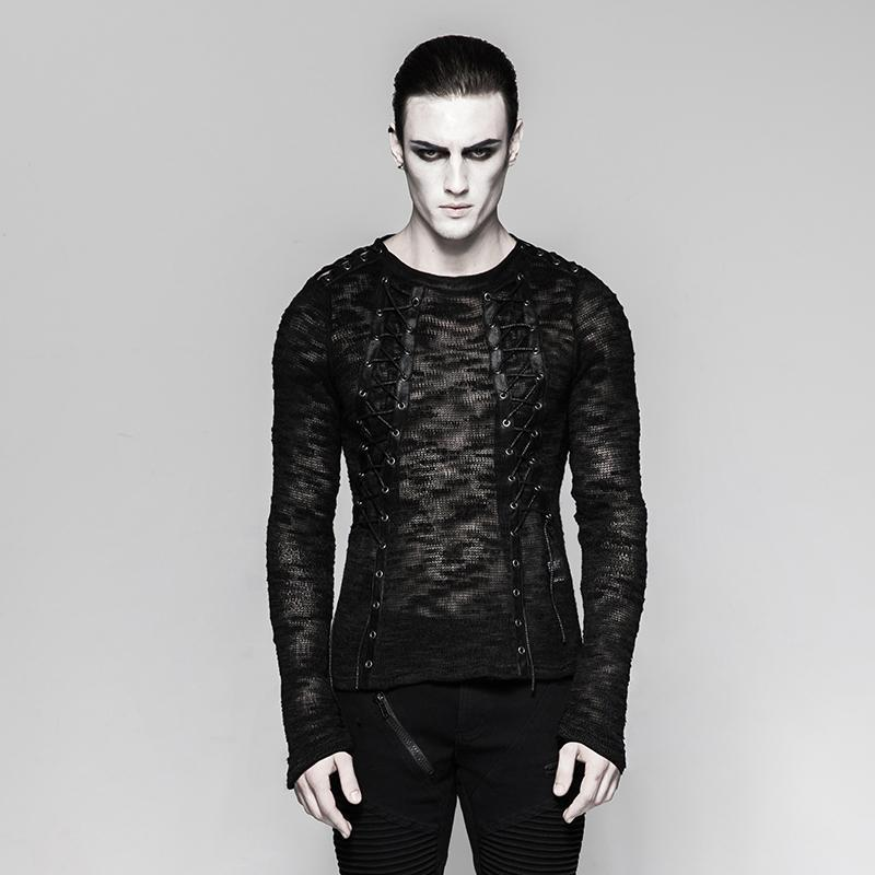 Men's punk sheer lace-up sweater - PunkDesign