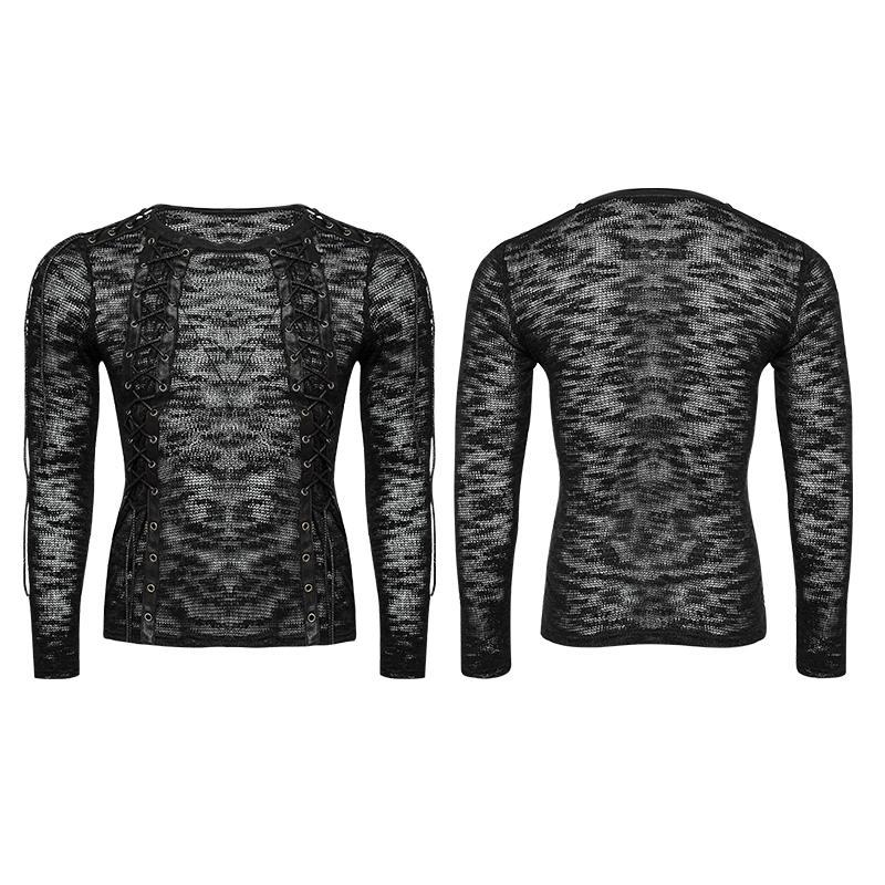 21f4cf5f14 ... Men s punk sheer lace-up sweater - PunkDesign ...