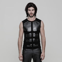 Men's Arrayed PU Deco Skinny Sleeveless T-shirt - PunkDesign