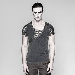 f2bff2181a Men s Asymmetric Neck Lace-up T-shirt - PunkDesign