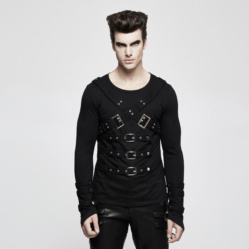 Men's Buckle Deco Long-sleeve Pullover - PunkDesign