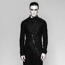Men's gothic floral Irregular zipper Long Sleeved shirt - PunkDesign