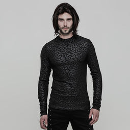 Men's Gothic Floral Jacquard Slim Fitted Long-sleeve T-shirt - PunkDesign