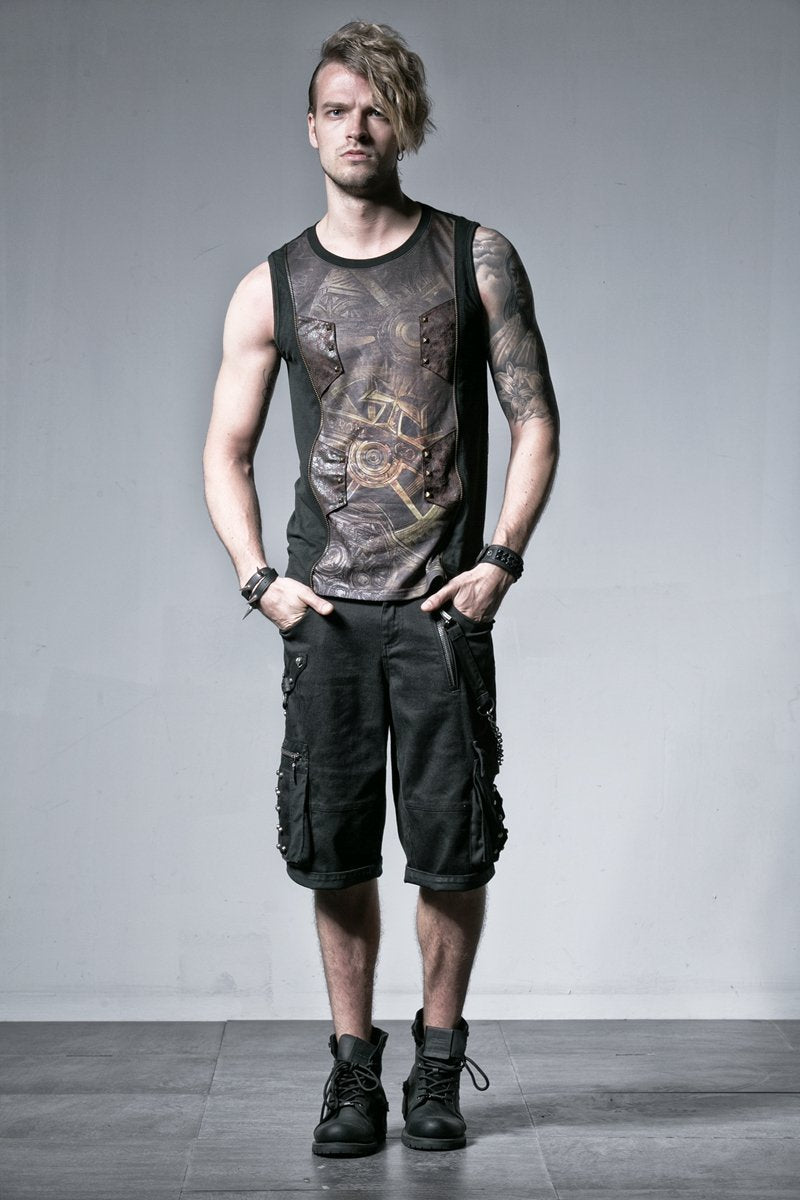 Men's Gothic Retro Wheel Printed Tank Top - PunkDesign