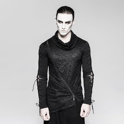 Men's Gothic Turtleneck Asymmetric Hem Lace-up Sleeves Shirts - PunkDesign