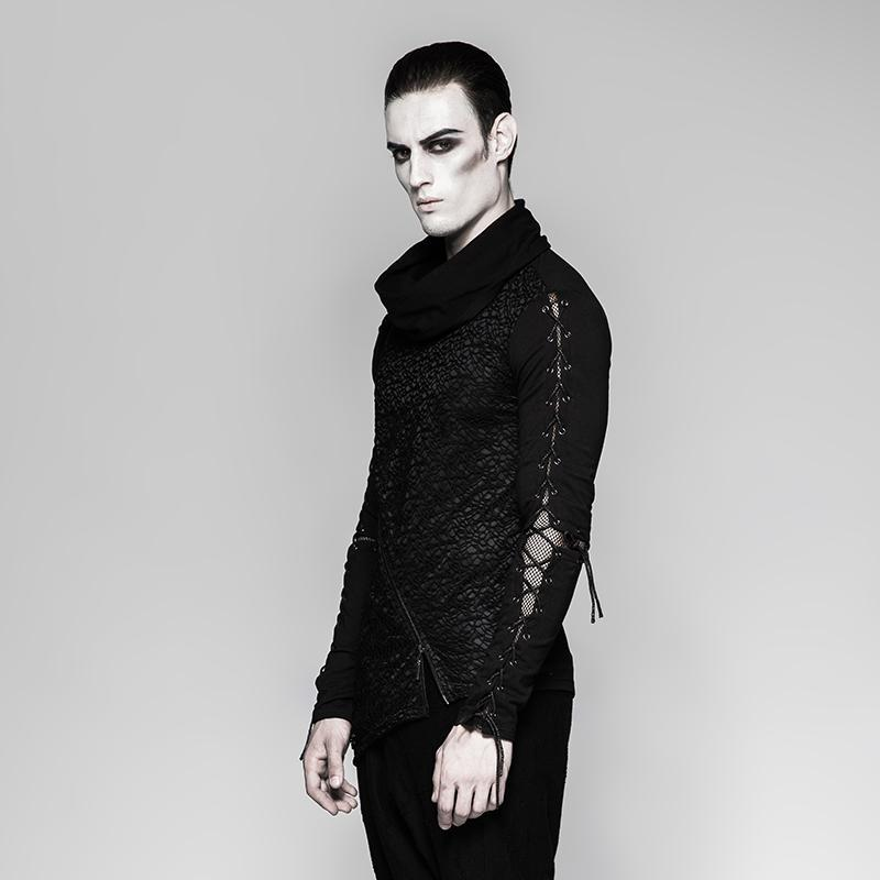 8c1c32d70a Men s Gothic Turtleneck Asymmetric Hem Lace-up Sleeves Shirts - PunkDesign.  Images   1   2   3 ...