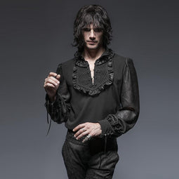 Herren Gothic Victorian Button Up Tops Schwarz - PunkDesign