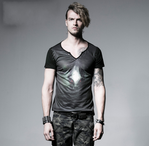 Men's Gradient Skull Printed V-neck Casual Tee - PunkDesign