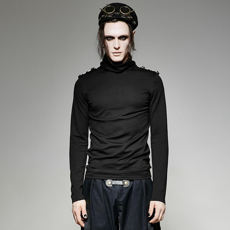 Men's High Collar Black Long Sleeved T Shirt With Shoulder Mark - PunkDesign