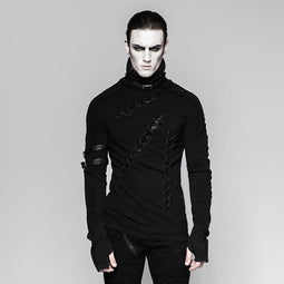Men's high collar lace-up shirt - PunkDesign