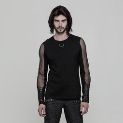 23e7b11b5e Men s Lace-up Cuff Mesh Colorblock Long Sleeve T-shirt - PunkDesign