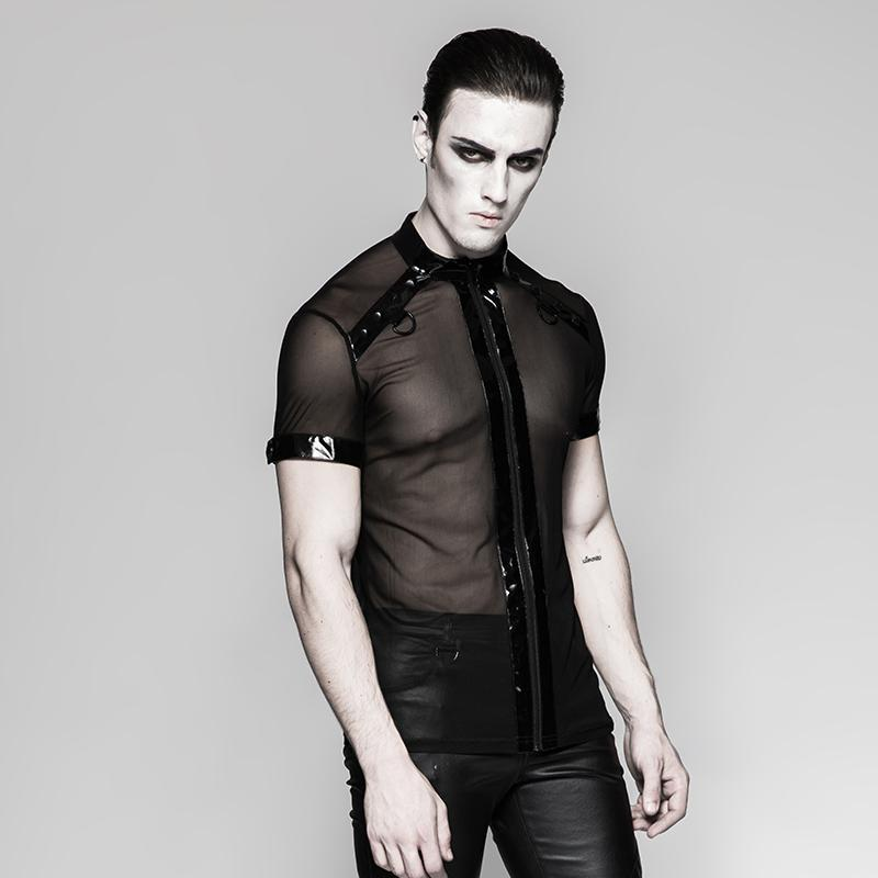 Men's Mesh Cross Chain short sleeved shirt - PunkDesign
