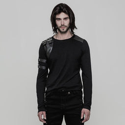 Men's Metal Buckle Faux Leather Colorblock Long Sleeve T-shirt - PunkDesign