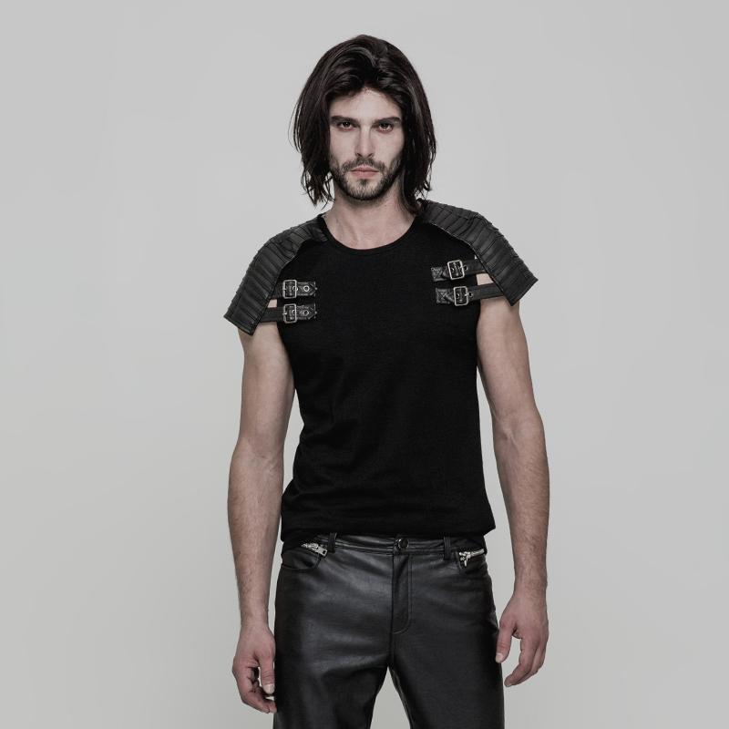 Men's Pleated Adjustable Buckle Deco Armor Style T-shirt - PunkDesign