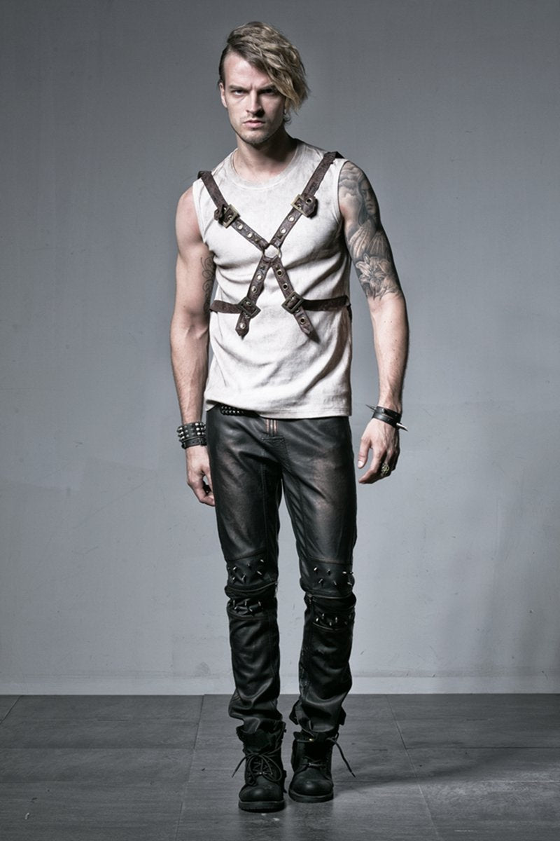 Men's Punk Cross Buckle Up Straps Tank Top - PunkDesign