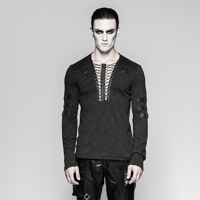 Men's punk lace-up long sleeved T-shirt Black - PunkDesign