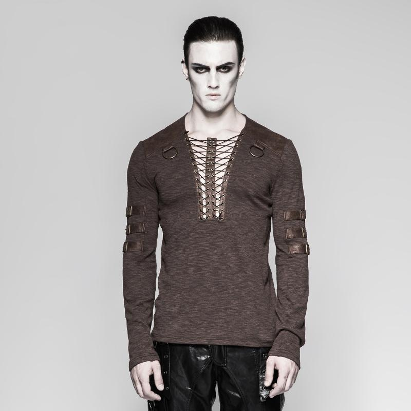 Men's punk lace-up long sleeved T-shirt Coffee - PunkDesign