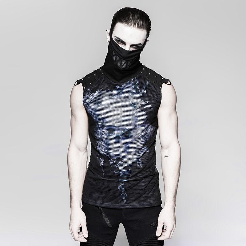 Men's punk rock Turtleneck skull tank tops Black - PunkDesign