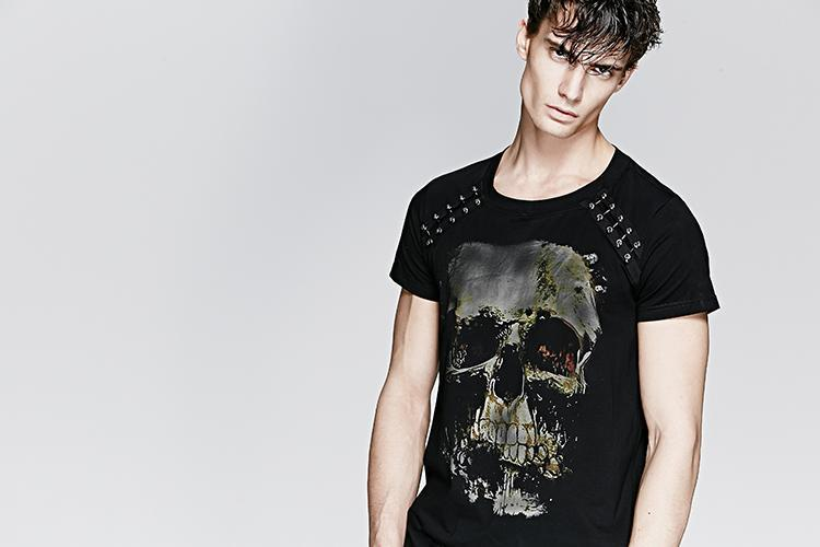 239c1e71802ab ... Men s Punk Skull Printed T Shirt - PunkDesign ...