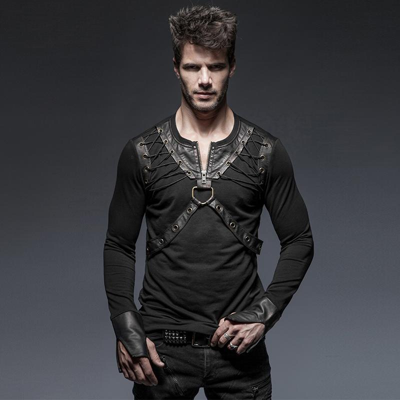 Men's Punk Zipper Lace Up Long Sleeve T Shirt With Straps - PunkDesign