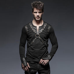 2b4dcb4754 Men s Punk Zipper Lace Up Long Sleeve T Shirt With Straps - PunkDesign
