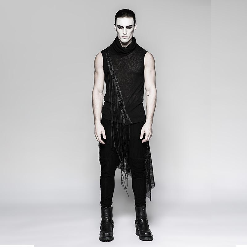 Men's Stand Collar Tassels tank tops - PunkDesign