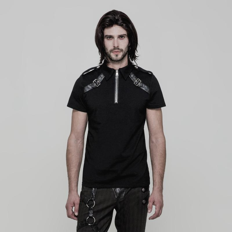 Men's Stand collar Zipper Buckle Deco Military T-shirt - PunkDesign
