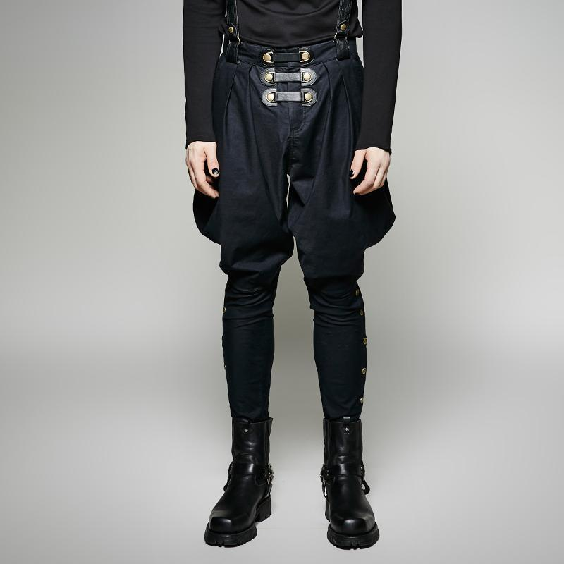 Men's Black Baggy Pants With Shoulder Harness - PunkDesign
