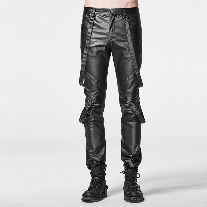 Men's Faux Leather Straight-Leg Pants With Suspenders - PunkDesign