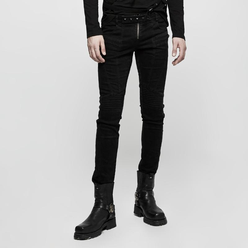 Men's Front Zipper Straight-leg Pants - PunkDesign