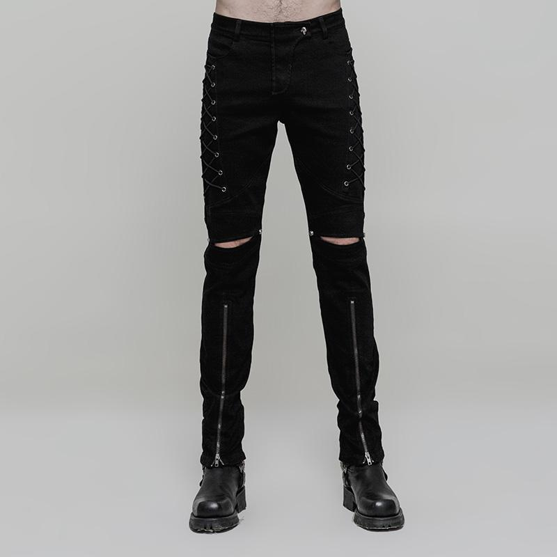 Men's Lace-up Knee Ripped Zipper Skinny Trousers - PunkDesign