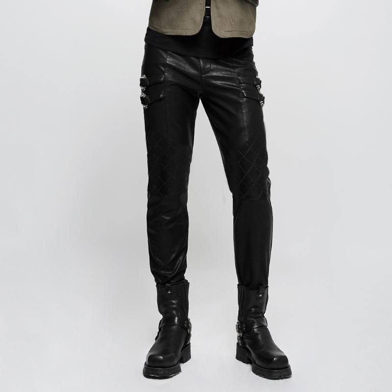 Men's Mesh Spliced Faux Leather Pants - PunkDesign