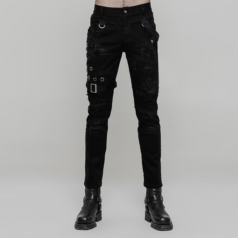 Men's Personality Distressed Mesh-paneled Skinny Trousers - PunkDesign