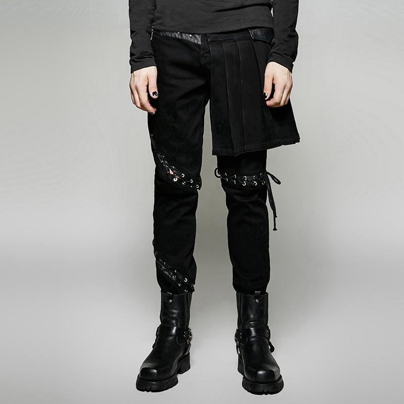 Men's Punk Asymmetric Low Waist Pants With Removable Skirt - PunkDesign