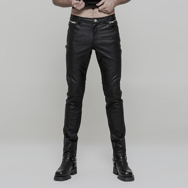 Men's Punk Ruched Faux Leather Skinny Trousers - PunkDesign