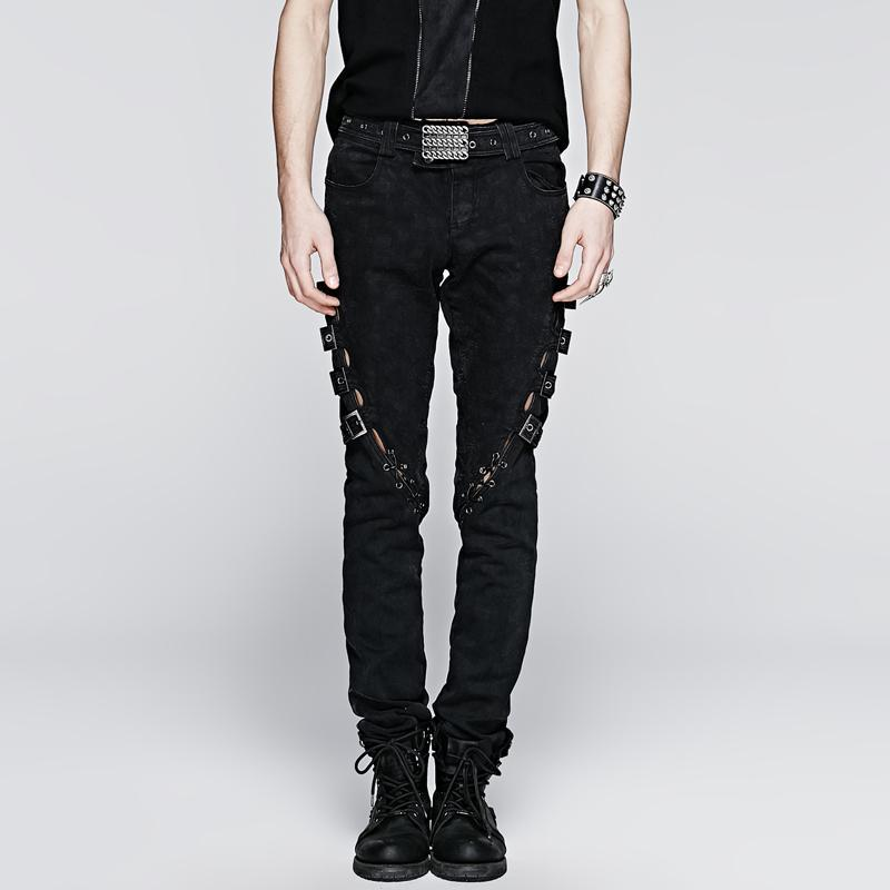 Men's Punk Straps Lace Up Casual Pants - PunkDesign
