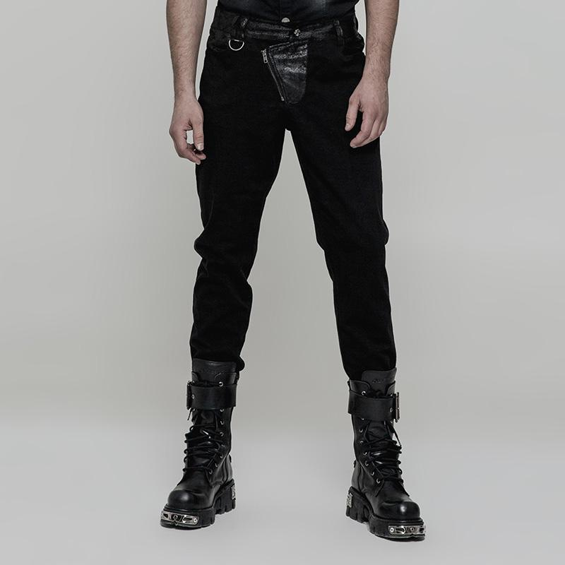 Men's Steampunk Faux Leather Colorblock Skinny Trousers Black-Punk Design