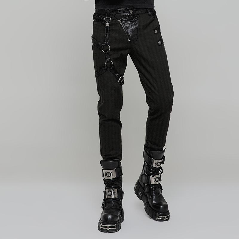 Men's Steampunk Faux Leather Colorblock Skinny Trousers Grey - PunkDesign
