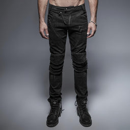 Men's Unique Armor Knee Men's Washing Jeans-Punk Design