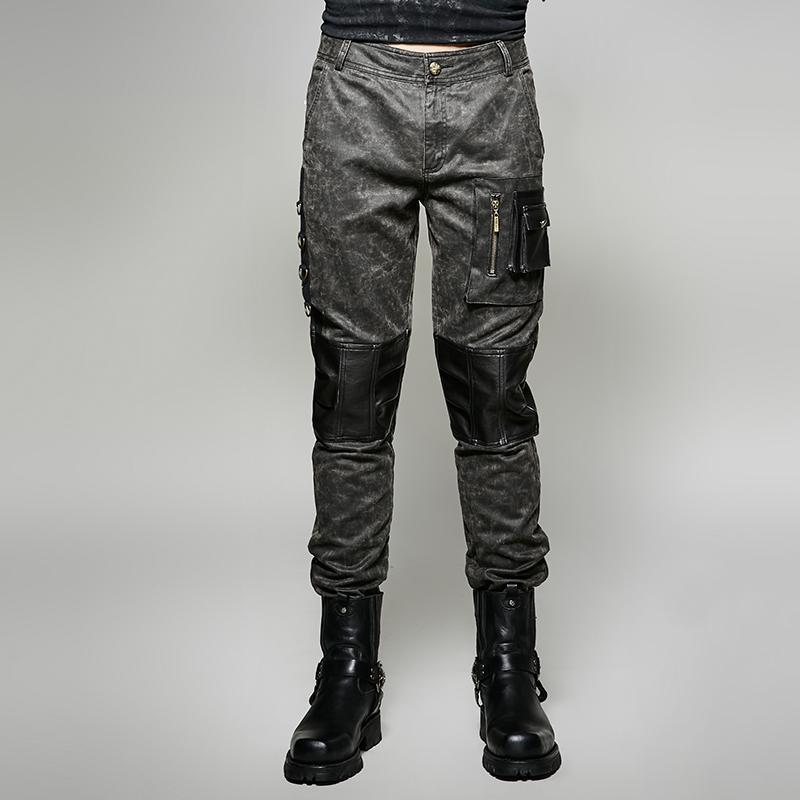 Men's Vintage Military Style Cargo Pants-Punk Design