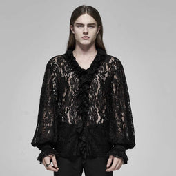 PUNK RAVE Men's V-neck See-through Floral Lace Shirts