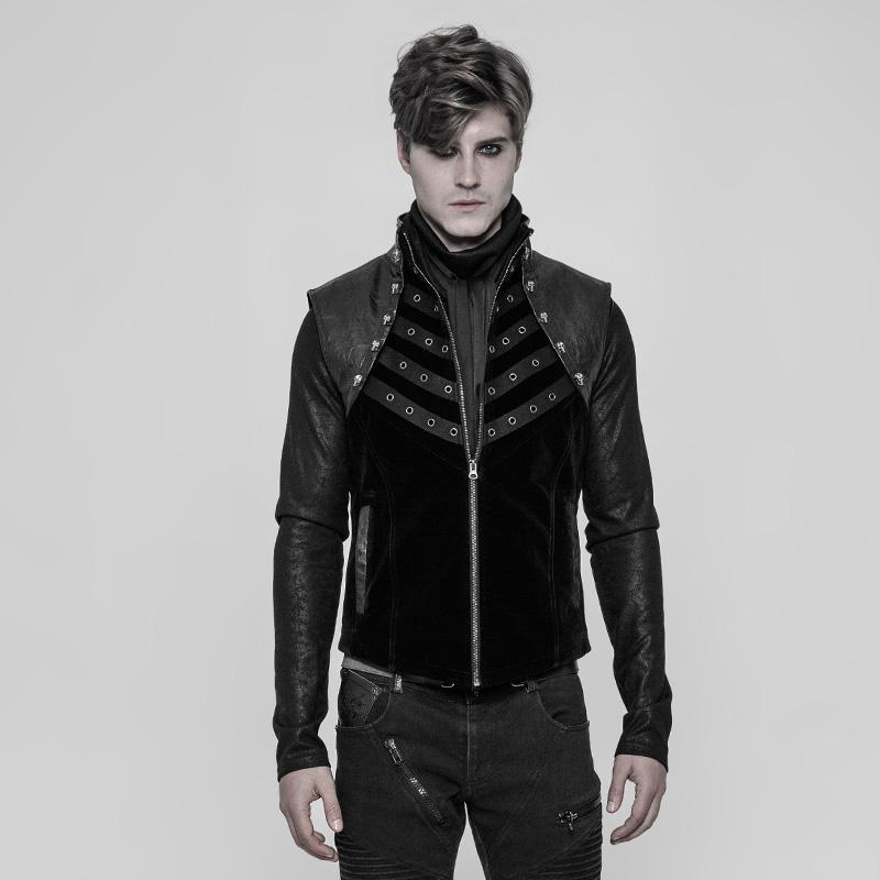 PUNK RAVE Men's Velvet and Faux Leather Punk Vest