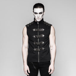 Men's buckle-up zipper vest - PunkDesign