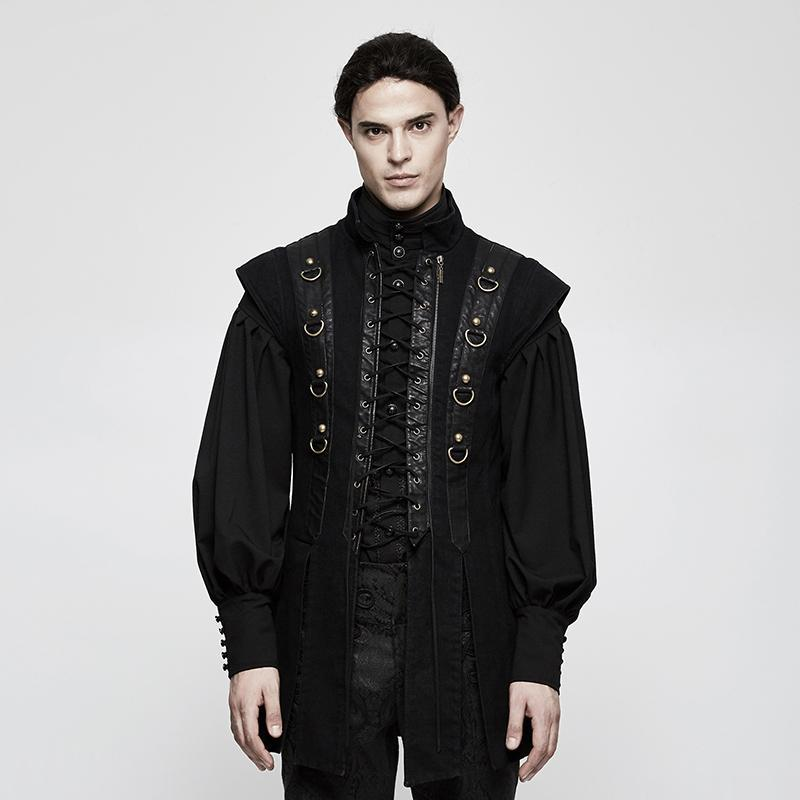 Men's Solid Color Lace-up Jap Vest - PunkDesign