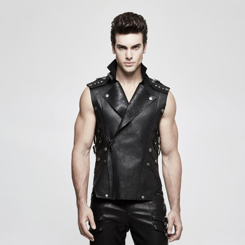 Men's Turn-down Collar Rivets Faux Leather Waistcoat-Punk Design
