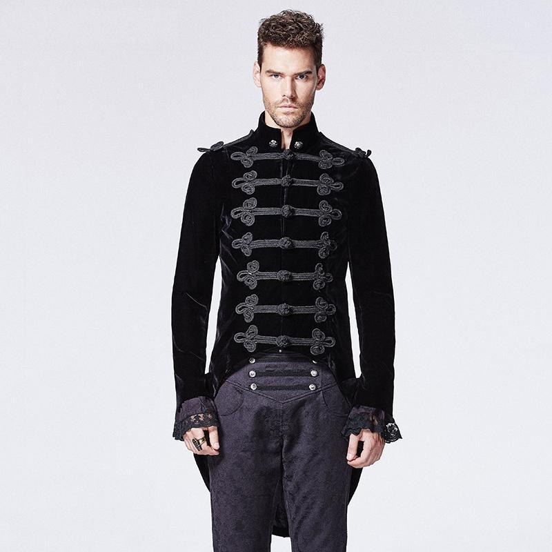 Men's Victorian Gothic Swallow Tail Coat Black - PunkDesign