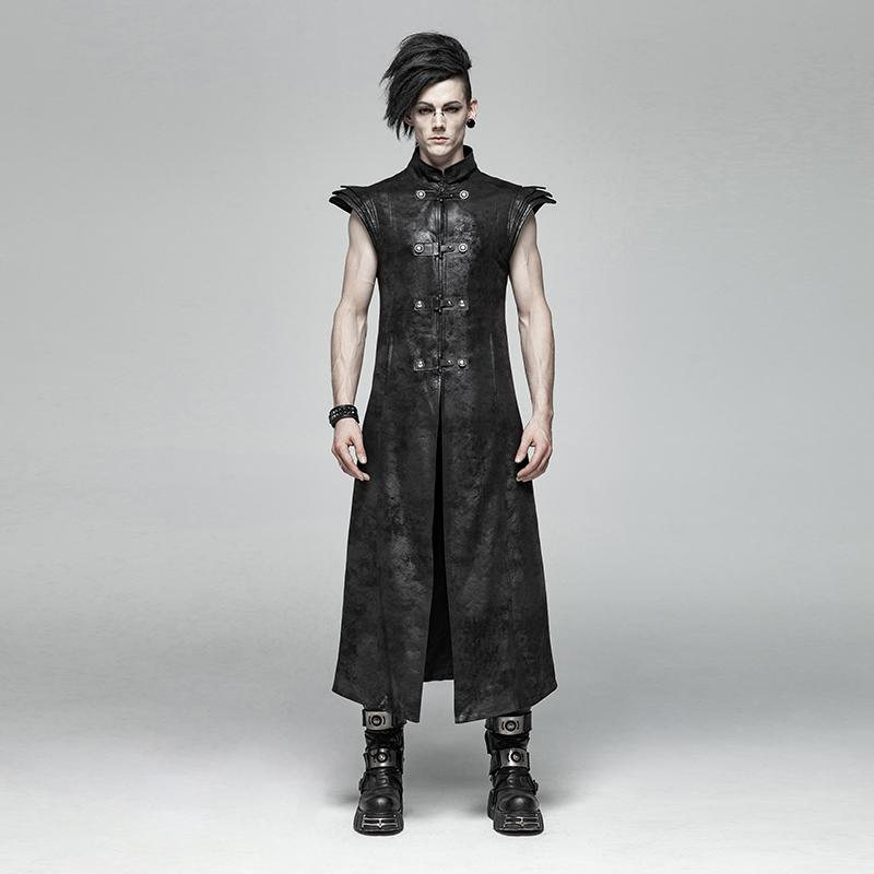 Men's Vintage Goth Faux Leather Stand Collar Angel's Wings Maxi Vest-Punk Design