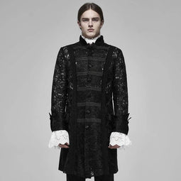 PUNK RAVE Men's Vintage Sheer Lace Jacquard Long Coats