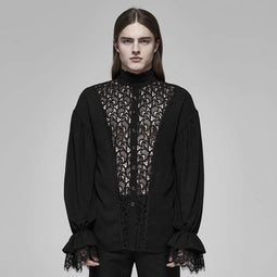 PUNK RAVE Men's Vintage Stand Collar Lace See-through Shirts