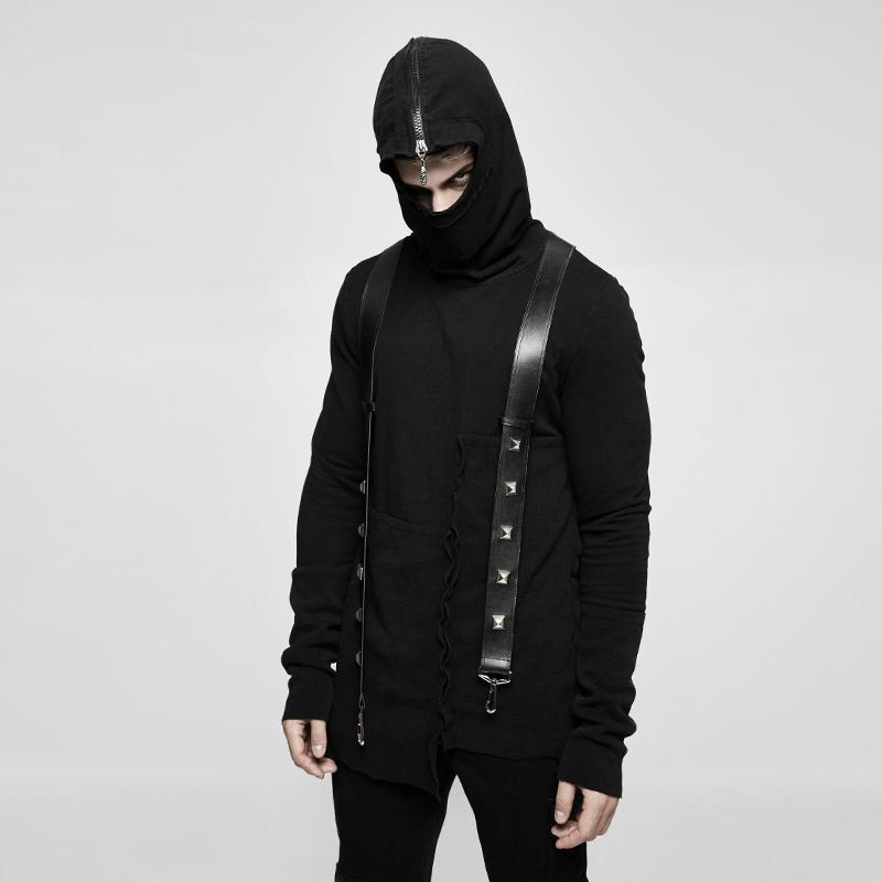 Men's Zipper Irregular Casual Hoodies With Suspender Belts-Punk Design